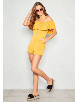 Lisa Mustard Bardot Button Playsuit by Missy Empire