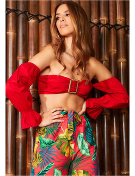 Lacey Red Bardot Belted Crop Top by Missy Empire