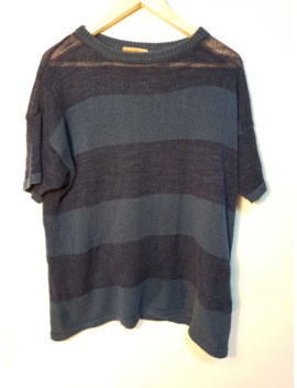 80s Knitted Striped Shirt by Issey Miyake  ×