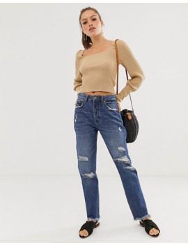 Stradivarius Authentic Mom Jeans In Ripped In Dark Wash by Stradivarius'
