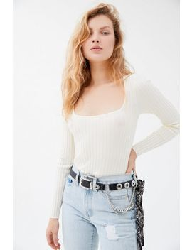 Uo Wide Ribbed Square Neck Sweater by Urban Outfitters