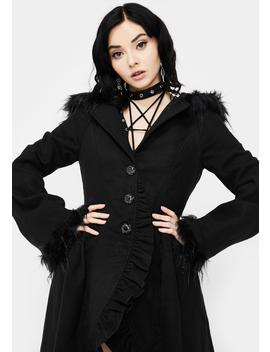 Hooded High Low Coat by Devil Fashion