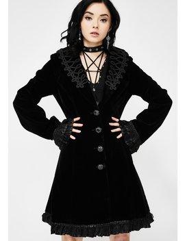 Embroidered Velvet Trench Coat by Devil Fashion