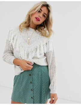 Asos Design Sweater With Fringe Detail by Asos Design
