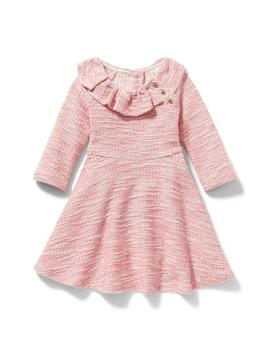 Ruffle Collar Bouclé Dress by Janie And Jack