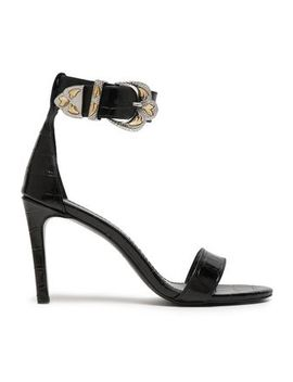 Croc Effect Leather Sandals by Maje