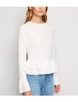 Cameo Rose Cream Frill Long Sleeve Top by New Look