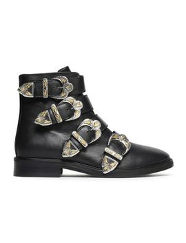 Jackpot Buckled Leather Ankle Boots by Maje