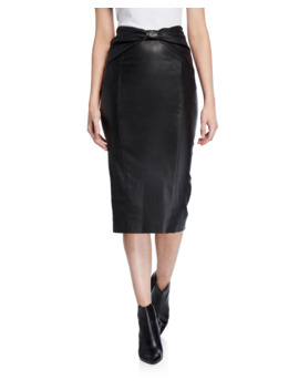 Carlyn Leather Pencil Skirt by Veronica Beard