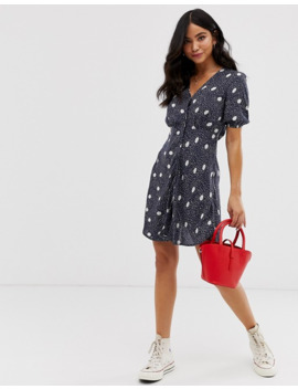 Wednesday's Girl Button Through Mini Dress In Polka Dot by Wednesday's Girl