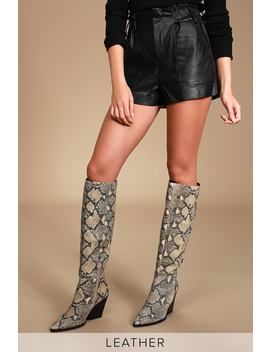 Isobel Black And White Snake Print Leather Knee High Boots by Dolce Vita