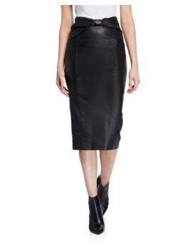 Carlyn Leather Pencil Skirt by Veronica Beard