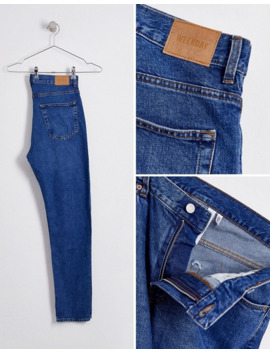 Weekday Sunday Relaxed Tapered Jeans In Mid Blue by Weekday
