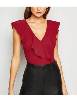Red Ruffle Plunge Neck Bodysuit by New Look