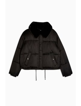 Black Padded Puffer Jacket With Faux Fur Collar by Topshop