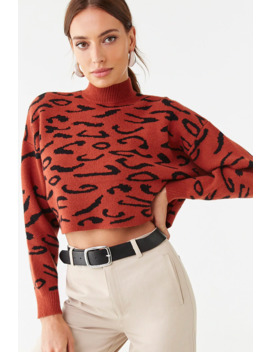 Brushed Leopard Cropped Sweater by Forever 21