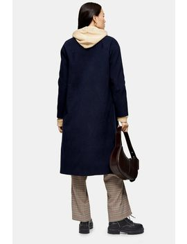 Navy Longline Coat by Topshop