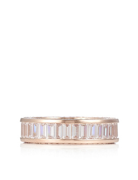 Diamonique 4.3ct Tw Baguette Eternity Ring Sterling Silver by Qvc