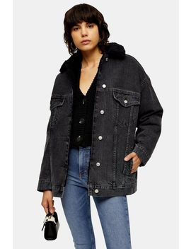 Black Wash Borg Lined Super Oversized Denim Jacket by Topshop