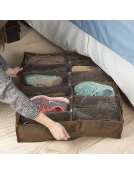 Under Bed Storage Shoe Organizer Bag With Clear Plastic Zippered Cover, Stores 12 Pairs Of Shoes By Everyday Home (Brown) by Everyday Home