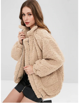 Slip Pockets Faux Fur Teddy Coat   Apricot M by Zaful