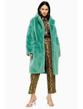 Sage Faux Fur Midi Coat by Topshop