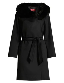 Fox Fur Trimmed Hooded Coat by Weekend Max Mara
