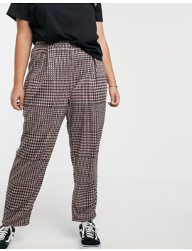 Asos Design Curve Check Jacquard Peg Pants by Asos Design