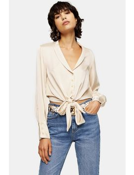 Cream Satin Knot Front Shirt by Topshop