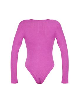 Violet Rib Brushed Button Long Sleeve Bodysuit by Prettylittlething