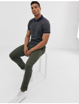 French Connection Organic Cotton Polo With Contrast Collar In Gray by French Connection