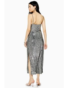 Silver Sequin Midi Dress by Topshop