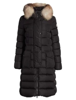 Khloe Fox Fur Trim Puffer Coat by Moncler
