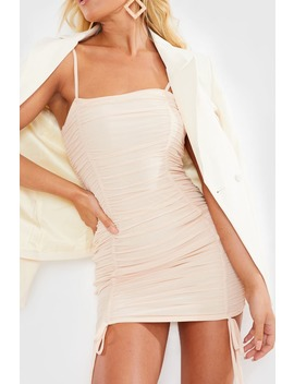 Charlotte Crosby Blush Mesh Ruched Mini Dress by In The Style