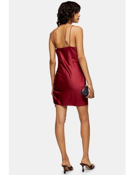 Red Satin Ruched Mini Slip Dress by Topshop