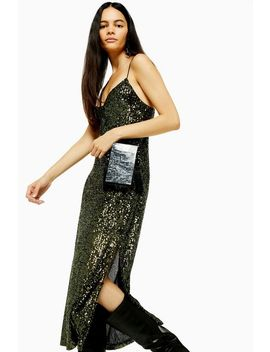Khaki Sequin Midi Dress by Topshop