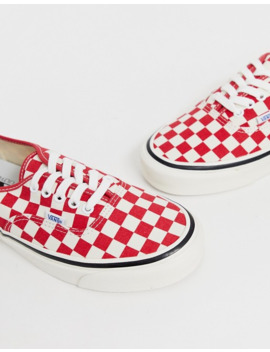 Vans Anaheim Authentic Checkerboard Plimsolls In Red by Vans'