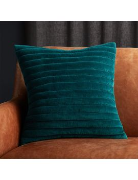 """18"""" Channeled Teal Velvet Pillow by Crate&Barrel"""