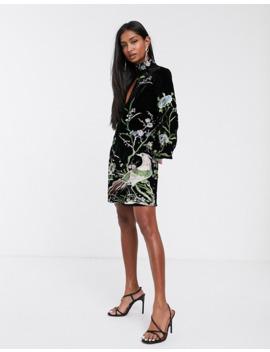 Asos Design Embroidered Velvet Shift Mini Dress With Key Hole Detail by Asos Design