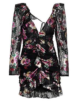 Benatar Open Back Ruffled Lace Mini Dress by For Love & Lemons