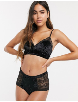 Monki High Waist Velvet And Lace Brief In Black by Monki