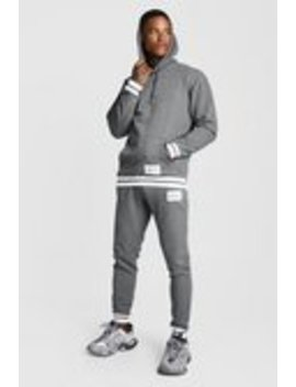 Man Print Hooded Tracksuit With Contrast Rib by Boohoo Man