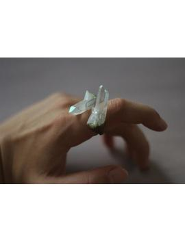 Aura Quartz Crystal Ring, Unusual Crystal Ring, Quartz Crystal Ring, Quartz Point Ring, Angel Aura Quartz, Witch Ring, Unique Ring by Etsy
