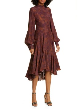 Wilder Paisley Long Sleeve Silk Dress by Amur
