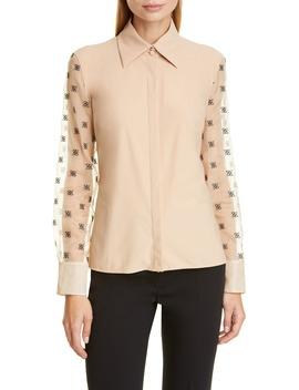 Ff Karligraphy Embroidered Organza Sleeve Blouse by Fendi