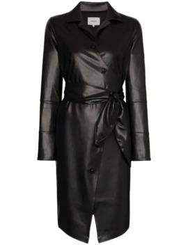 Ailsa Vegan Leather Belted Dress by Nanushka
