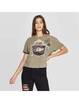 Women's Smokey Bear Short Sleeve Graphic Cropped T Shirt (Juniors')   Olive Green Wash by Smokey Bear