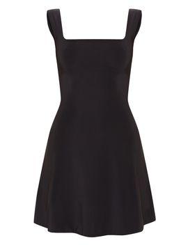 Black Slinky Square Neck Skater Dress by Prettylittlething