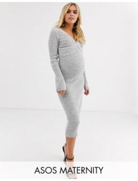 Asos Design Maternity – Midi Strickkleid Mit Falten Und Tiefem V Ausschnitt by Asos