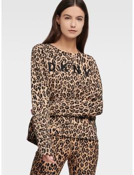 Leopard Print Logo Pullover by Donna Karan